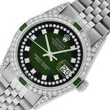 Rolex Mens Stainless Steel Diamond Lugs Green Vignette & Emerald Datejust 36MM