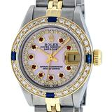 Rolex Ladies 2 Tone Pink MOP Ruby & Sapphire Datejust Oyster Perpetual Wriswatch