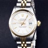 Rolex Ladies 2 Tone White Index Datejust Oyster Perpetual Wristwatch 26MM