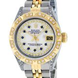 Rolex Ladies 26 Yellow Gold And Stainless Steel MOP Sapphire Lugs Oyster Perpetu