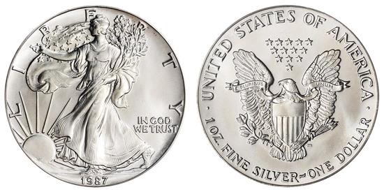 1987 American Silver Eagle .999 Fine Silver Dollar Coin