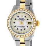 Rolex Ladies 2 Tone MOP Sapphire String Diamond Oyster Perpetual Datejust Wristw