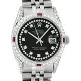 Rolex Mens SS Black String Diamond Lugs & Ruby Oyster Perpetaul Datejust 36MM