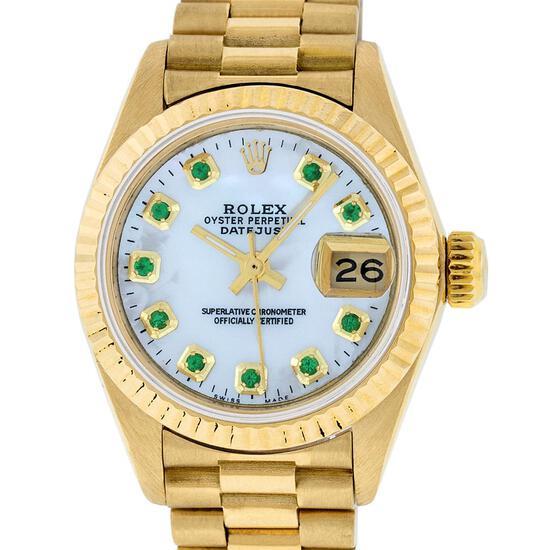 Rolex Ladies 18K Yellow Gold Mother Of Pearl Emerald Datejust President Wristwat