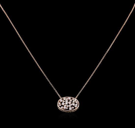 0.61 ctw Diamond Necklace - 14KT Rose Gold