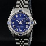 Rolex Ladies Stainless Steel Blue Diamond & Sapphire 26 Datejust Wristwatch