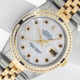 Rolex Mens 2 Tone MOP Sapphire Diamond Channel Set Datejust 36MM Oyster Perpetua