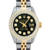 Ladies 26MM Datejust Black Diamond Oyster Perpetual 2T and SS
