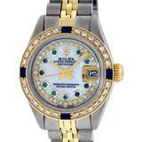 Rolex Ladies 2 Tone MOP Sapphire String Diamond Oyster Perpetual Datejust Wriswa