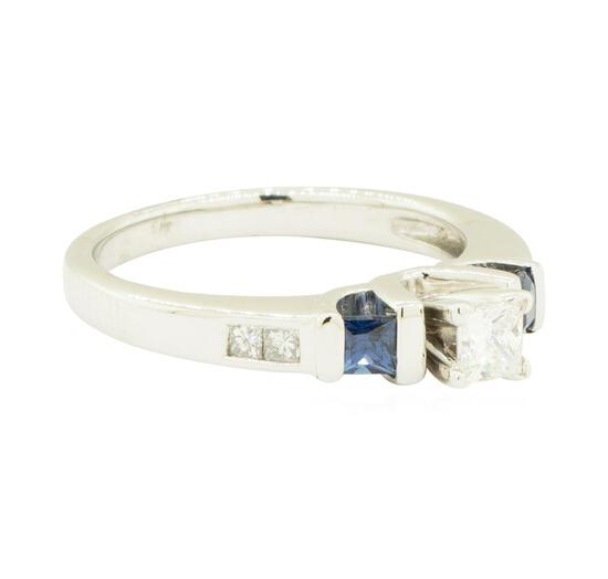 0.60 ctw Diamond and Sapphire Ring - 14KT White Gold