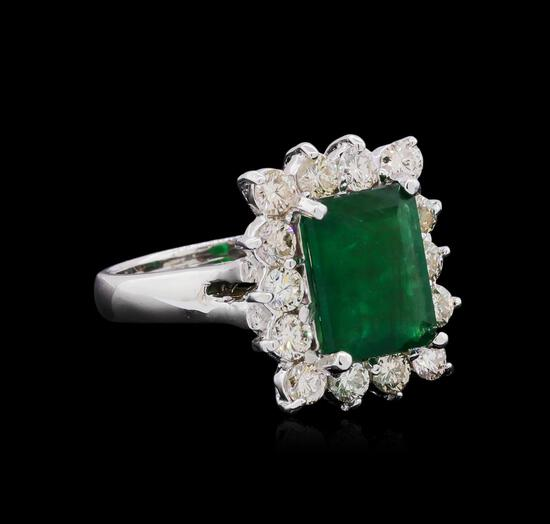 14KT White Gold 2.61 ctw Emerald and Diamond Ring