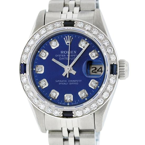Rolex Ladies Stainless Steel Blue Diamond & Sapphire Oyster Perpetual Datejust W