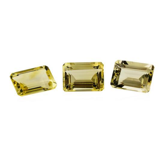 21.68 ctw.Natural Emerald Cut Citrine Quartz Parcel of Three