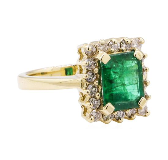 2.90 ctw Emerald and Diamond Ring - 14KT Yellow Gold