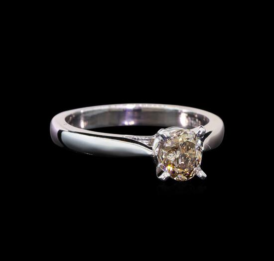 14KT White Gold 0.95 ctw Oval Cut Fancy Brown Diamond Solitaire Ring