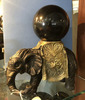 Cast Iron Elephant  W/ Brass Saddle & Sphere