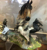 "Resin Horses & Horse Bust Candle Holder  9"" Across"