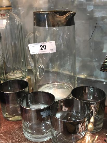 Silver Band on Glass Pitcher and 4 Glasses