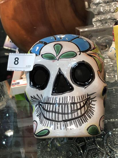 Hand Painted Ceramic Skull