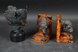Buffalo statue and bookends