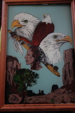 Eagle, Indian And Pipe Art Painted Glass With Oak Frame