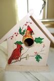 Hand Painted Birdhouse Cardinal Design