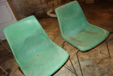 Vintage Krueger Green Bay Green Plastic Chairs Set Of 2