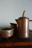 Copper Pitcher With Horn Or Antler Handle, Copper Creamer And Copper Ashtray