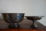 Oneida Silverplate Pedestal Bowl And Silver-colored Bowl