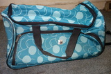 Green Patterned Travel Bag Rolling Duffle