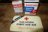 Vintage First Aid Kit Metal Box And 2 Metal Band-aid Boxes