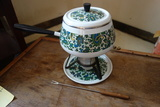 Vintage Enamel Paisley Fondue Pot Set