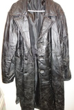 Men's Leather Black Trench Coat Size Xl