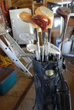Vintage Golf clubs, bag with cart