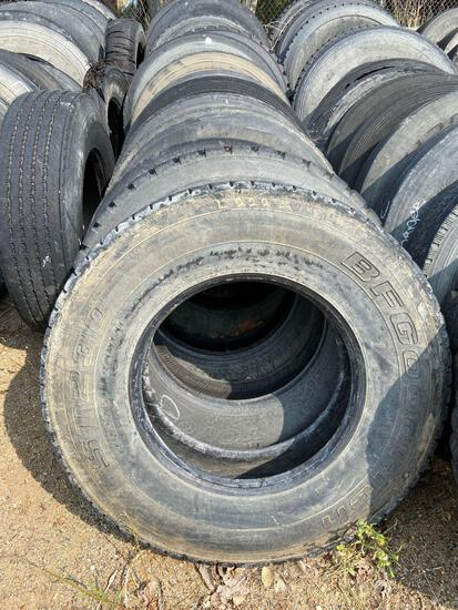 Row of semi truck tire cases
