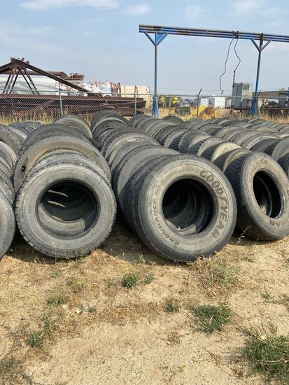 Six rows of truck tire casings