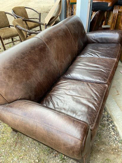Pottery Barn leather hide a bed sleeper sofa