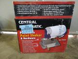 Central pneumatic paint shaker and hardware