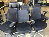 6 black office chairs