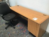 Wooden office desk with chair