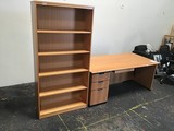Wooden desk and shelf