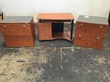 WOODEN SMALL DESK , 2 SMALL WOODEN FILE CABINETS