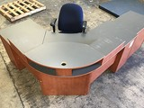 Wooden reception desk, wooden file cabinet , office chair