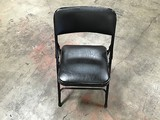 10 BLACK METAL FOLDING CHAIRS WITH COUCHED SEAT AND BACKREST