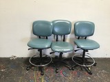 3 blue  office chairs