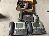 3 Office Phones W Office phone headset& Stands