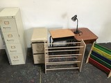 2 Lock File Cabinets W/ 2 Kid Shoe Holders And 2 Small tables With lamp
