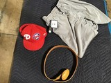 Ostrich skin belt, baseball cap, xl short