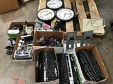 Office supplies, keyboards, clocks , monitor stands