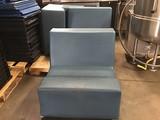 Three plastic lounge chairs